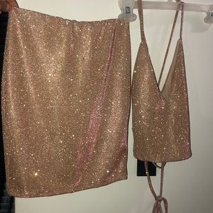 Skirt and top sparkly set